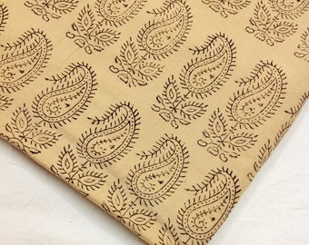 Ajrakh Block Print Cotton Fabric - Black and Beige Paisley Block Print - Vegetable Dyed Cotton Fabric by the Yard