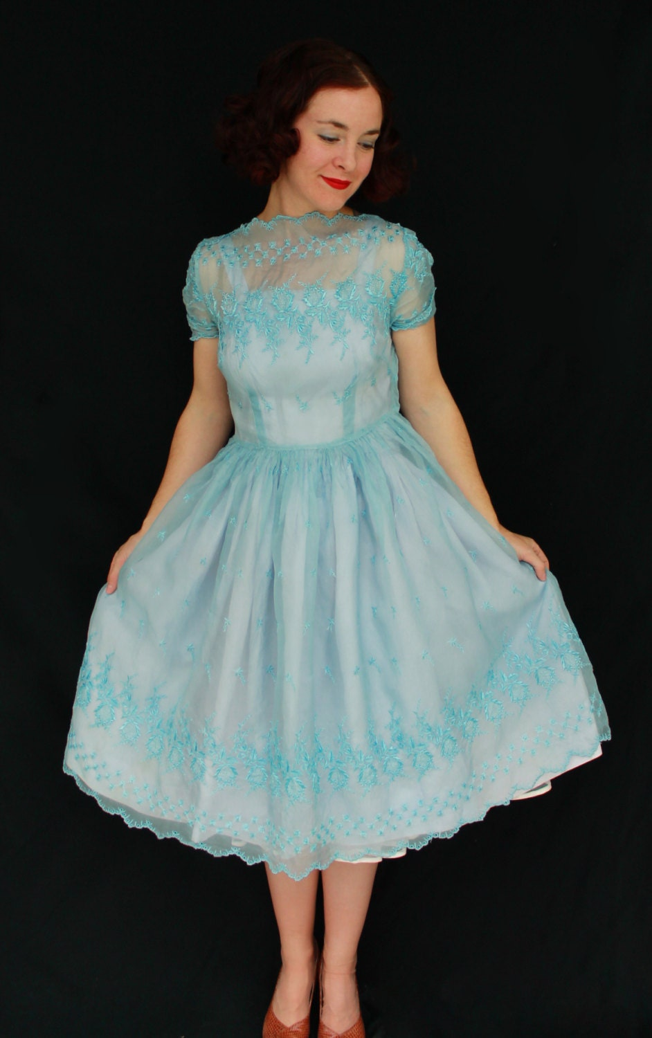 1960s Handmade Sheer Blue Lace Bridesmaid Dress With Slip