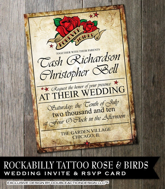 Rockabilly Wedding Invitation Rose Tattoo Distressed Paper Ricker Wedding Invitation DIY Wedding