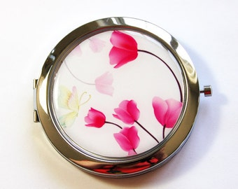 Floral mirror, Floral compact, pocket mirror, Flower compact, Flower compact mirror, mirror, compact mirror, Pink, tulips (2778)