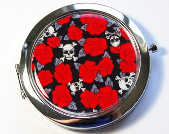 Compact mirror, Skull Roses Mirror, Sugar Skulls, mirror, purse mirror, Pocket mirror, Red, Black  (2912)