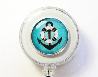 ID Badge Holder, Nautical, Anchor, Retractable id, Badge clip, blue, Badge Reel (3049)