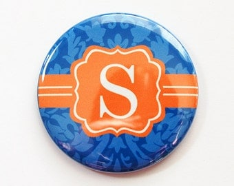 Monogram Pocket mirror, Damask, monogram, Orange, Blue, shower favor, bridesmaid gift, mirror, purse mirror, custom pocket mirror (3510)