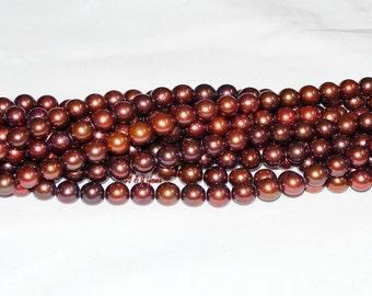 """Freshwater Pearl Bronze, Chocolate 10mm Round - 16"""" Strand"""