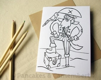 Coloring card - Pirate with a parrot