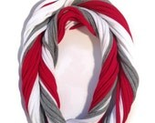 Ohio State Buckeyes Loopy Infinity Scarf - Upcycled from Recycle Tshirts - Red White Gray Football Jersey Necklace