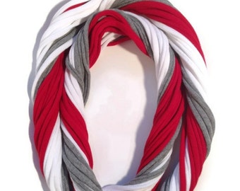 Nebraska Cornhuskers Inspired Loopy Infinity Scarf - Upcycled from Recycle Tshirts - Red White Gray Football Jersey Necklace