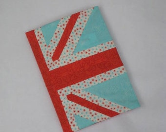 British Composition Notebook Cover Royal Union Jack Flag Blank Journal Aqua Red Hearts Polka Dots Back to School Planner Fit for a Queen