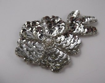 Silver Blossom - Antique/Vintage Art Deco Flower Sequin Beaded Applique Patch Embellishment Accessory Clothing Purses Headband Brooch Craft