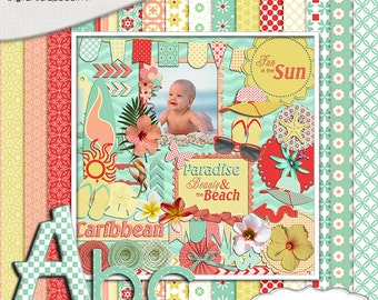 Caribbean Beach Digital Scrapbook Kit in Tropical Red, Coral, Sand and Seafoam Green,  Instant Download