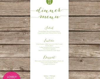 Printable Sidney Menu for weddings, showers and parties - Lovely Little Party - You Choose Color