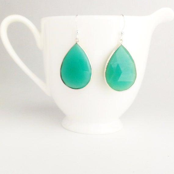 Sea Green Dangle Earrings by Kluster. Turquoise Green Chalcedony Earrings. Blue Green Drop Earrings. Turquoise. Silver.