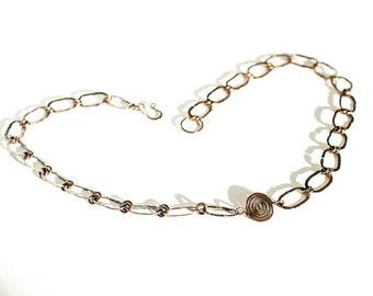 "Celtic Spiral Necklace Antiqued Copper 20"" Necklace Mens Textured Copper Chain Necklace"