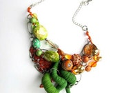 Funky Jewelry, Statement Necklace, Orange Necklace, Fiber Art, Textile Art, Free Shipping