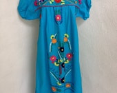 SALE Vintage Boho Mexican peasant embroidered blue dress SZ Med