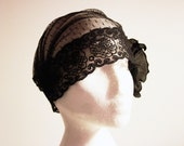 Black Lace Flower Cap Swiss Dots Netting Polka Dot Tulle Floral Veil - Bridal Hat Lace Mask 20s Inspired