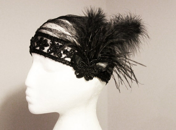 20s Inspired Black Butterfly Feather Cap Swiss Dots Lace Netting Polka Dot Tulle - Bridal Beaded The Great Gatsby Hat Art Deco Flapper