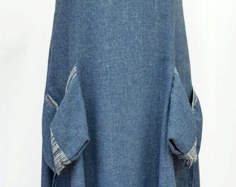 "Linen Dress ""Sophia"" summer dress, blue, XL, gray,plus size,denim"