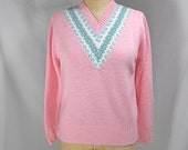 vintage 1970s pink sweater / size medium