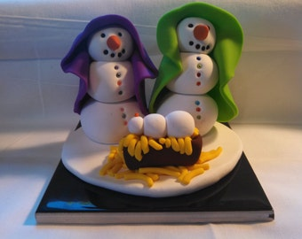 Polymer Clay Snowman Holy Family Nativity