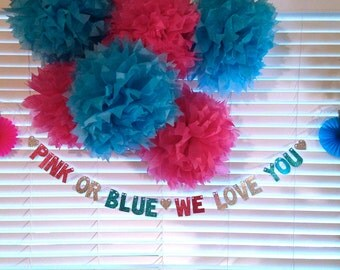 Pink Or Blue, We Love You Banner -- Baby Shower Decoration / Gender Reveal Party / Photo Prop