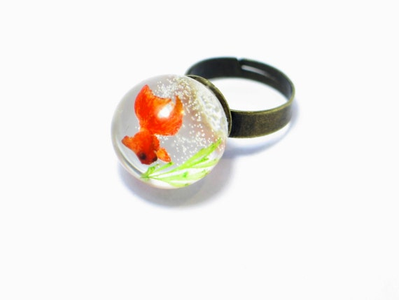 Goldfish ring. Resin ring. Resin jewelry. fish ring, fishbowl, snow globe, fish bowl. miniature, sea animal, Whimsical