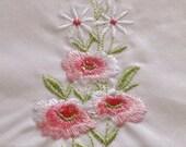 Wonderful Vintage Hankies set of 2 Pink and Purple  Embroidered Flowers
