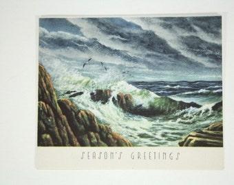 Vintage Christmas Card - 1940s Holiday Greeting Card - Christmas Decorations - Holiday Decor - Crashing Waves on Rocky Shore, Ocean Beach