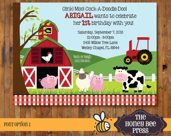 Farm Animal Birthday Invitation - Barnyard Birthday Invitation - Oink, Moo, Cock-A-Doodle-Doo - Item 0139