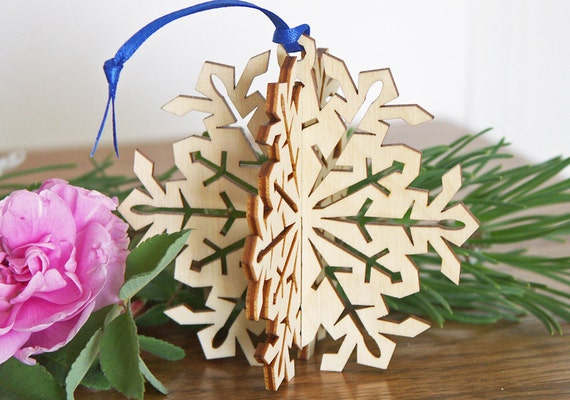 3d snowflake christmas ornament hanging or free by cardnotions for 3d hanging snowflake decoration