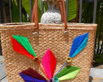 1960's Summer Straw Tote With Colorful Neon Emboidery