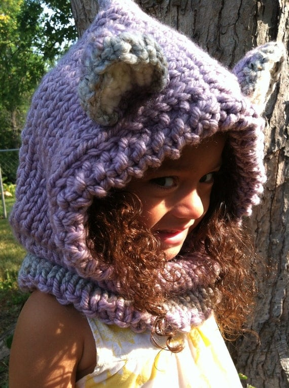 Knitting Patterns Hats Animals : Items similar to Fox Hoodie, Animal Hat, Hood, Chunky Knit Cowl, Hand Knit, A...