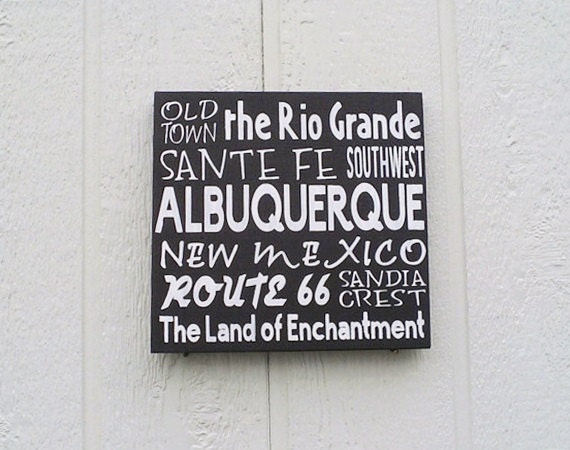Items similar to new mexico sign albuquerque hand painted for Custom jewelry albuquerque new mexico