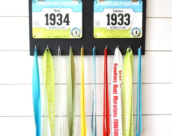 Gift for Runners - Couple - Race Bib and Medal Holder - His and Hers