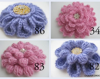 Crochet PATTERNS-Crochet Flowers 4 Patterns-DIY Gift For Women-Crochet Brooch-Diy Crafts-Digital Patterns PDF-Lyubava Crochet Designs