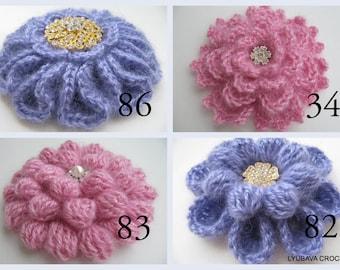 Crochet PATTERNS/Crochet Flower Brooches 4 Patterns/Unique Crochet DIY Gift For Women/3d Big Flowers/Digital Patterns PDF/Lyubava Crochet