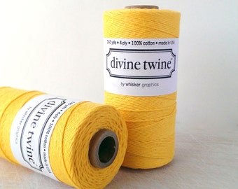 Yellow twine - full spool - 240 yards - Solid Yellow Divine Twine bakers twine - yellow bakers twine - Divine twine