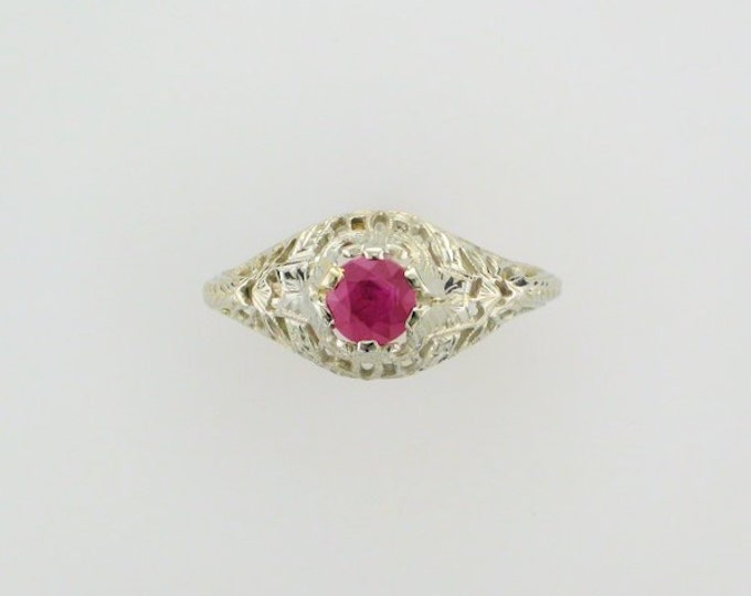 18 Karat White Gold Edwardian Ruby Filigree Ring
