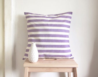 Stripe pillow cover in plum purple - home printed stripy pattern - 16''x16'' - 40x40 cm - cotton