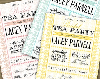 "CUSTOMIZED // PRINTABLE // Wedding Shower Invitation // ""Big Hat Tea Party"" Bridal Shower Theme // Yellow, Blush Pink or Blue Damask"