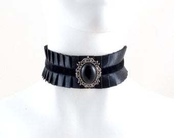 Black Collar Choker Pleated Satin Necklace with Stone and Velvet - Victorian, Gothic, Ball, Edwardian, Costume