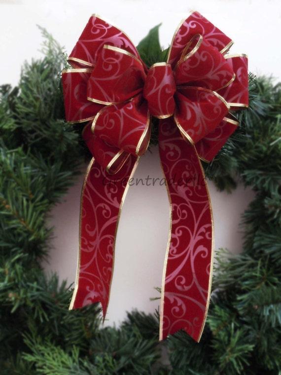 Burgundy Red Filigree Christmas Bow Burgundy Velvet Christmas Wreath Bow Red Velvet Mailbox Bow Burgundy Red Bow Red Velvet Christmas Bow
