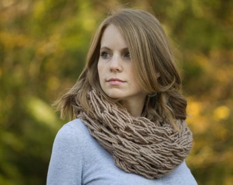 Camel Knit Scarf, Taupe Infinity Scarf, Tan Chunky Cowl
