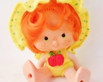 Vintage 1979 Apple Dumpling Doll, Made in Hong Kong, Strawberry Shortcake Doll, Original Clothes, Yellow, Green, Red, Baby