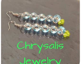 Blue and Lime Green Glass Bead Dangle Chainmaille Earrings