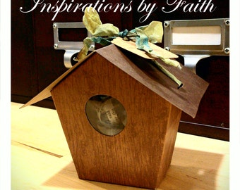 Add On Gift Box Wrapping - Birdhouse with Vintage Hand-dyed Ribbon and Stamped Tag