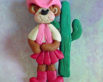 Western Cow Girl Monkey Christmas Ornament Pink Cowboy Hat Vest Boot Cactus Polymer Clay Milestone Cake Topper Southwest Desert Rodeo