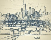 Chicago photography art print - Diversey Harbor sketch outline