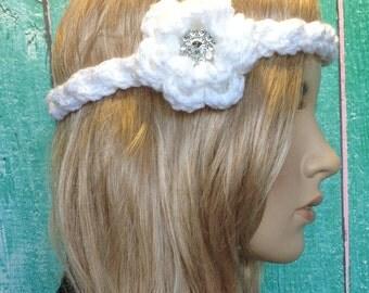 White Crochet Flower Braided Braid Headband with Rhinestone Button