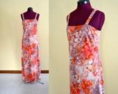 1970s Vintage Caron Chicago Floral Sleeveless Dress - size M L bust 36